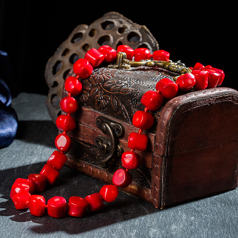 Natural 9-11mm Red Coral Irregular Shaped Beads Knotted Necklace Elegant Sacred Coral Necklaces Gifts For Wives And Mother