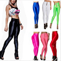 S-XL  Women's Skinny Pants Candy-colored Zipper High Waist Spandex Pants Slim Hip Pantyhose Fluorescence Workout Pants