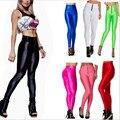 S-XL das Mulheres Skinny Pants Candy-colored Zipper Calças De Cintura Alta Spandex Meia-calça Fina Hip Fluorescência Calças de Treino