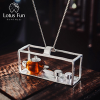 Lotus Fun Real 925 Sterling Silver Handmade Fine Jewelry Natural Amber Original Teapot Design Pendant without Necklace for Women