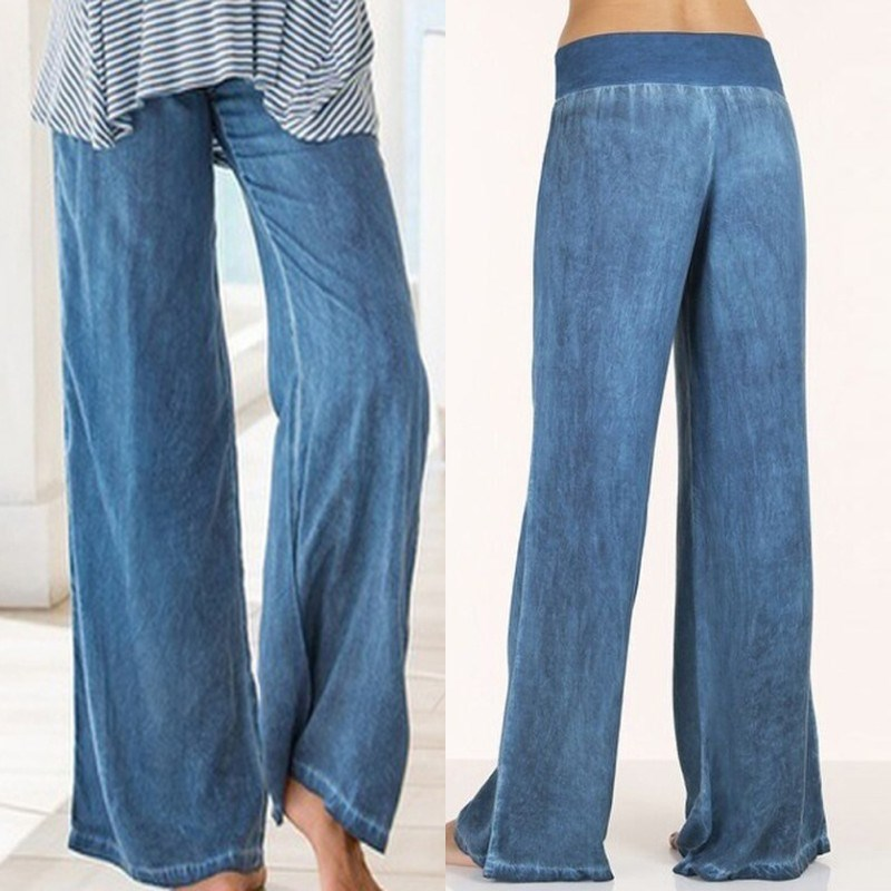 2019 Summer Women Elastic High Waist Wide Leg Pants Plus Size 5xl Denim Pants Korean Casual Jeans