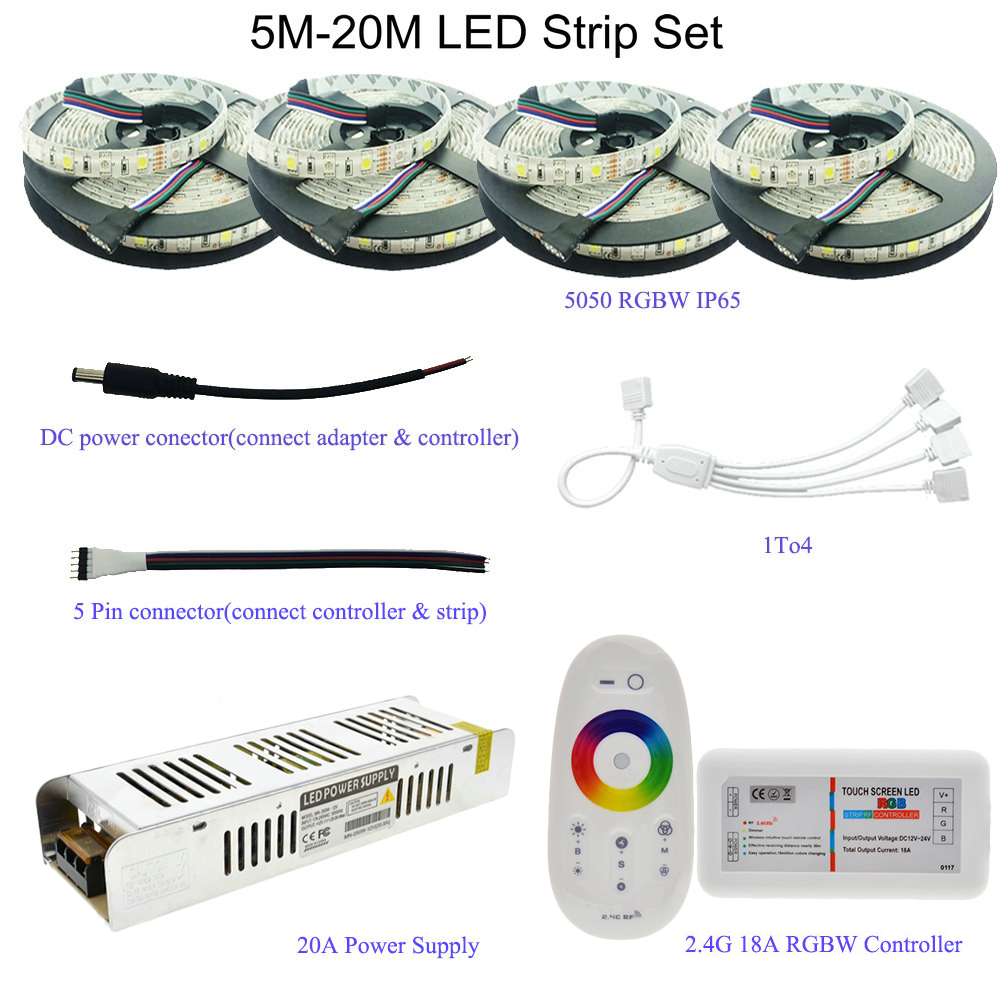 5M/10M/15M/20M 5050 RGB/RGBW/RGBWW LED Strip Set With 2.4G Touch Screen RF Remote Controller+12V Power Supply Adapter5M/10M/15M/20M 5050 RGB/RGBW/RGBWW LED Strip Set With 2.4G Touch Screen RF Remote Controller+12V Power Supply Adapter