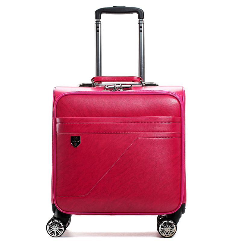 Letrend PU Leather Women Rolling Luggage Spinner 16 inch Carry On Trolley Travel Bag Women's Handbag Suitcases Wheels Trunk letrend 3d colorful rolling luggage spinner women rose gold suitcases wheels cabin trolley travel bag 20 24 inch carry on trunk