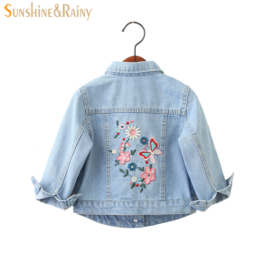 Little Girls Fashion Denim Jacket Girls Embroidery Jeans Coat Children Outerwear Jacket High Quality Kids Denim Coat ...
