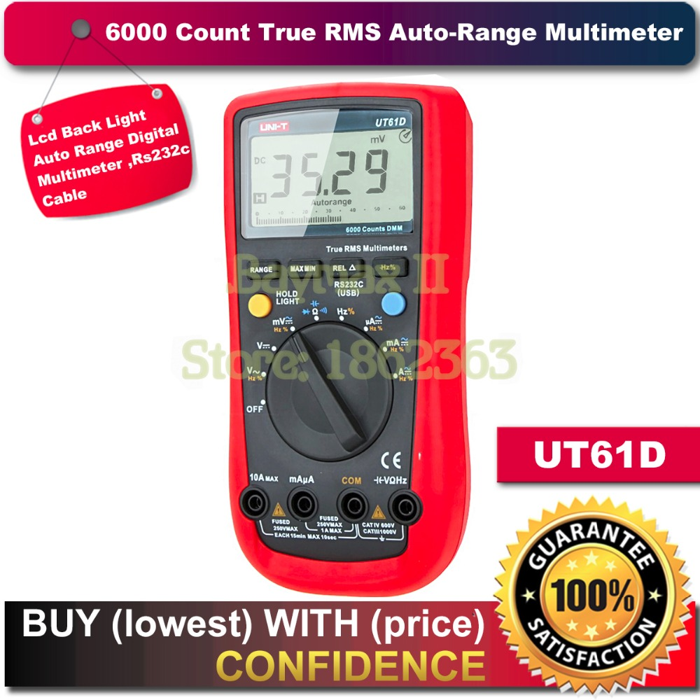 UNI-T UT61D 6000 Counts True RMS Auto Range Multimeter AC/DC Voltage Current, Resistance Capacitance Tester with RS232C Cable uni t ut61e 22000 counts true rms digital multimeter ac dc voltage current resistance capacitance tester with rs232c cable