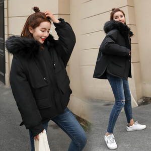 Image 2 - Fitaylor Faux Fur Collar Short Parkas Loose Down Cotton Coats Winter Women Hooded Jackets Pink Black Burgundy Snow Outwear