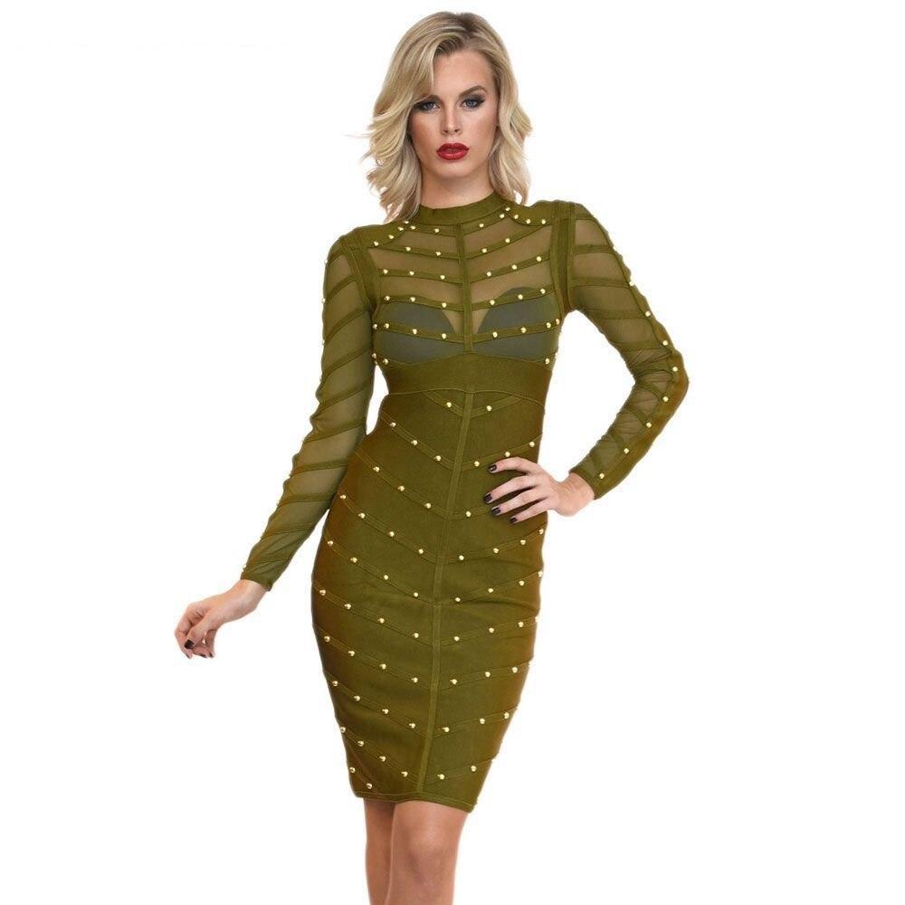 2017 wanita musim dingin bodycon party dress olive hijau jala hitam - Pakaian Wanita - Foto 2
