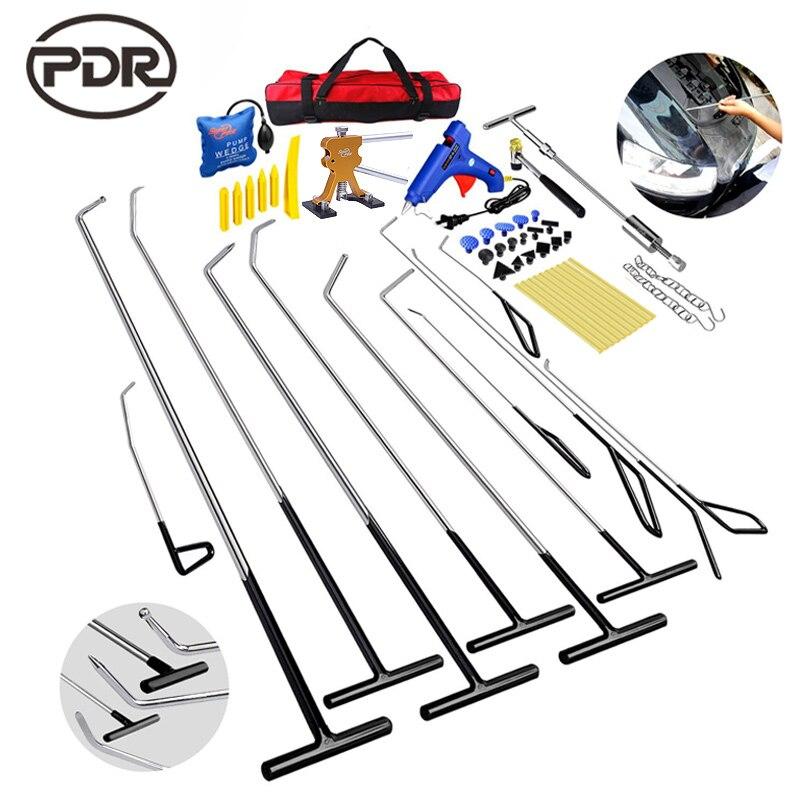 PDR Hook Tools Kit Push Rod Car body Dent Removal Paintless Dent Repair Dent Puller Hail Damage Repair Tools Set auto pdr paintless hail rods kit flat end dent puller repair tools 5pcs rod f005wd