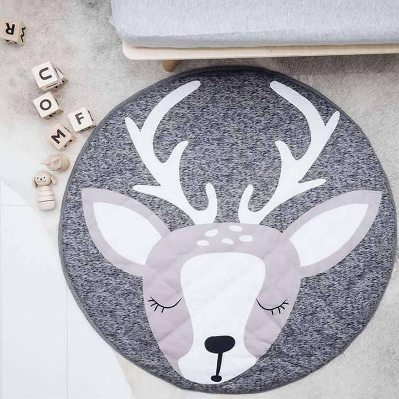Kids Infant 90CM Play Mats Baby Cotton Crawling Carpet Floor Rug Baby Bedding Rabbit Blanket Cotton Game Pad Children Room Decor