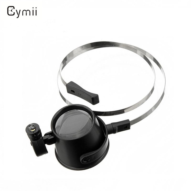 Cymii Lowest Price Jewellery Led Lighted 15X Eye Loupe Hands-Free Head Strap Mag