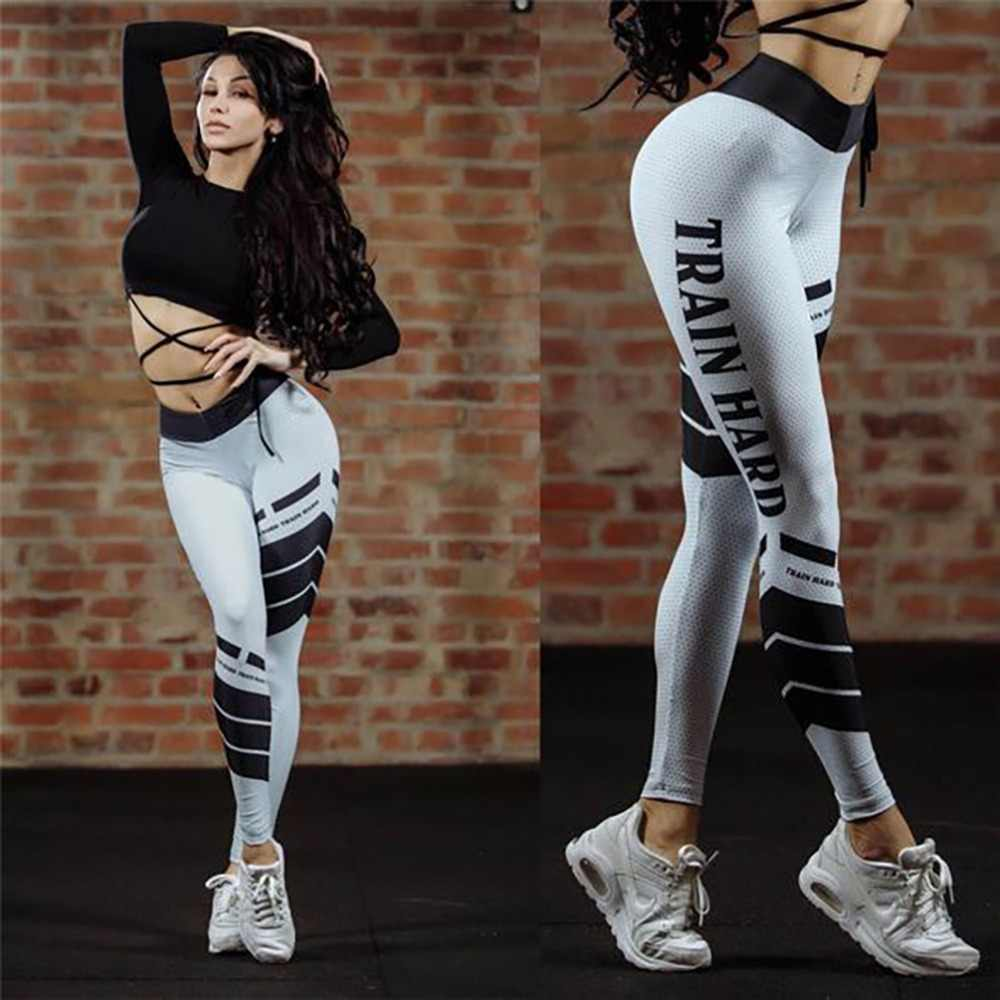 Autumn Style Casual Female Striped Digital Printing Leggings White Fitness Sportswear Push Up High Waist Slim Leggings