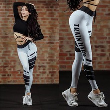 Autumn Style Casual Female Striped Digital Printing Leggings White Fitness Sportswear Push Up High Waist Slim Leggings