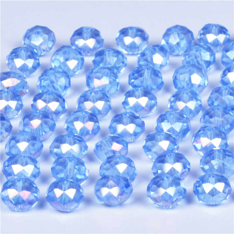 4mm 6mm 8mm Light Blue AB Color Rondelle Austria faceted Crystal Glass Beads Loose Spacer Round Beads for Jewelry Making