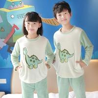 Cute Green Dinosaur Children's 2018 Winter Flannel Pajamas Suit Warm Child Cartoon Home Sleepwear Set Long Sleeve Indoor Clothes