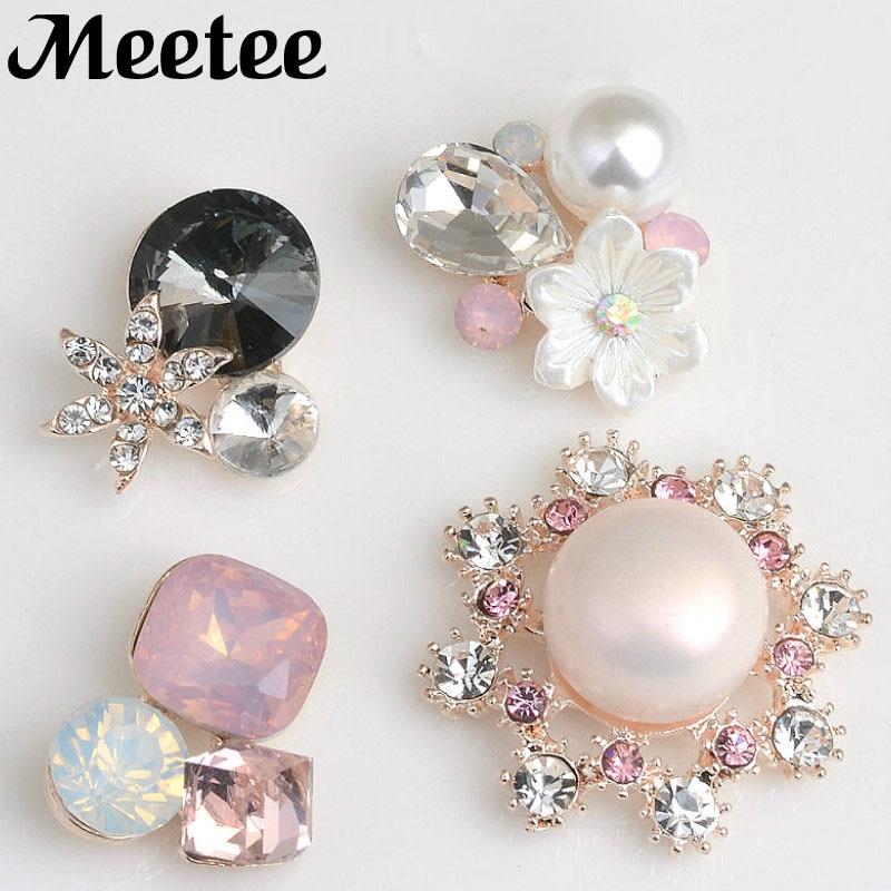 10X DIY Metal Fashion Flower Round Crystal Rhinestone Button Clothes Jewel Wedding Decoration Jewelry Hair Accessories KY2110