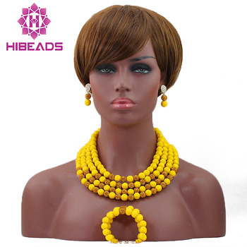 Splendid Yellow Coral Bridal Beads Jewelry Set 4 Layers Artificial Coral Beaded Jewelry Sets  Free Shipping HX611