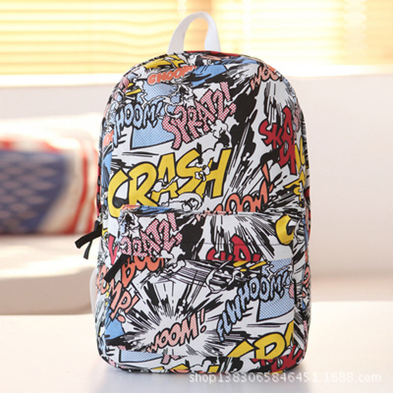 RU&BR Fashion Street Graffiti School Backpack Girls Boys Canvas Bags For Teenagers Feminina Backpacks Hot Travel Bag Laptop Bag cool urban backpack for teenagers kids boys girls school bags men women fashion travel bag laptop backpack