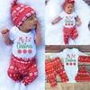 New Autumn Xma Christmas Newborn Toddler Infant Baby Girl Boy Letter Snowflake Romper Pant Legging Hat