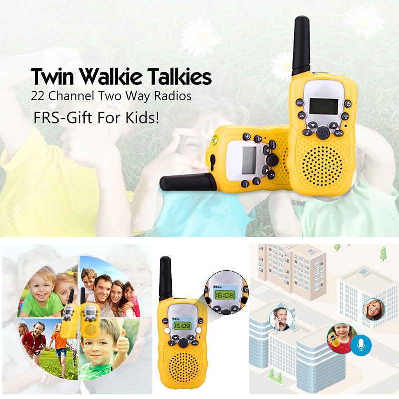 Children Education Toys 2PCS Walkie Talkies Phone Walkie Talkie 7 In 1 Children Watch Radio Outdoor Interphone Toy Outdoor