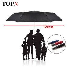 新 120 センチメートルビッグ自動品質傘雨女性 3 折りたたみ防風大型の屋外傘男性女性 Paraguas パラソル