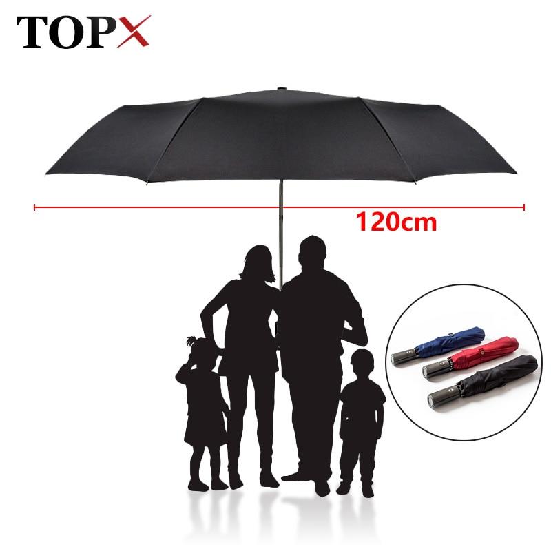חדש 120cm גדול אוטומטי איכות מטריה גשם נשים 3Folding וינדפרופ גדול בחוץ אמברלה לגבר אישה Paragas Parasol