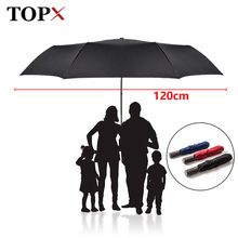 Paraguas grande y automático de 120cm para hombre y mujer, 3 Paraguas plegable a prueba de viento, Paraguas grande para exterior, sombrilla