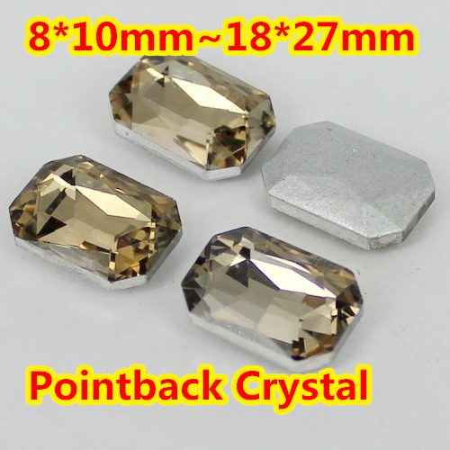 Light Coffe Rectangle Shape Crystal Fancy Stone Point Back Glass Stone For DIY Jewelry Accessory.10*14mm 13*18mm 18*25mm 20*30mm