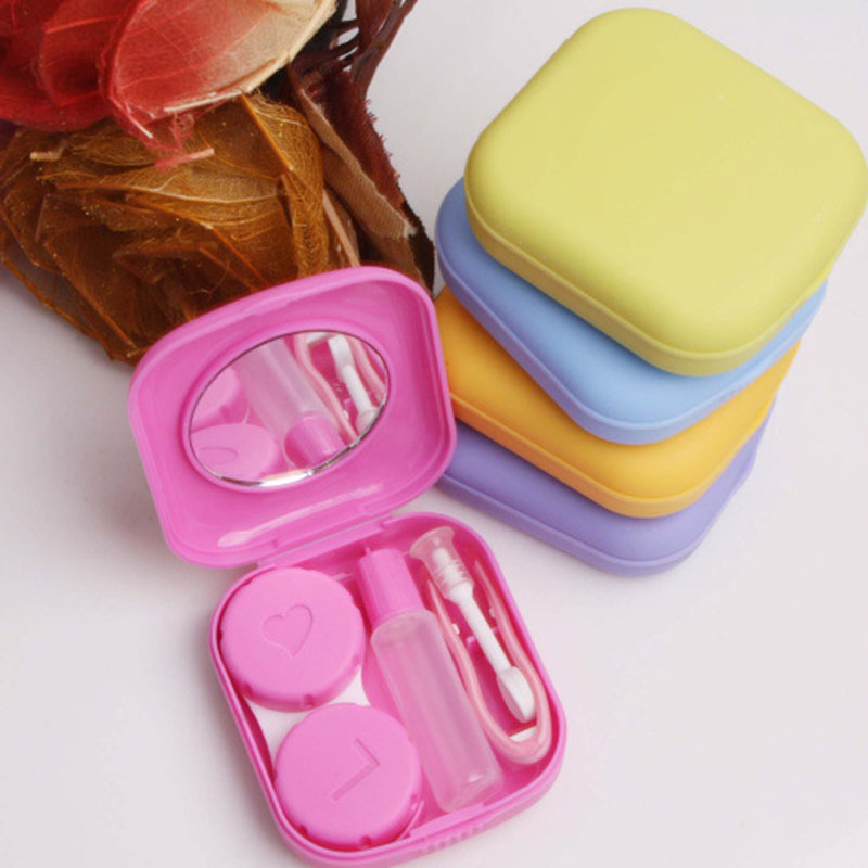 Portable Mini Lens Box Contact  Holder Small Lovely Candy Color Eyewear Bag Container Contact Lenss Soak Stora Eyewear Acc