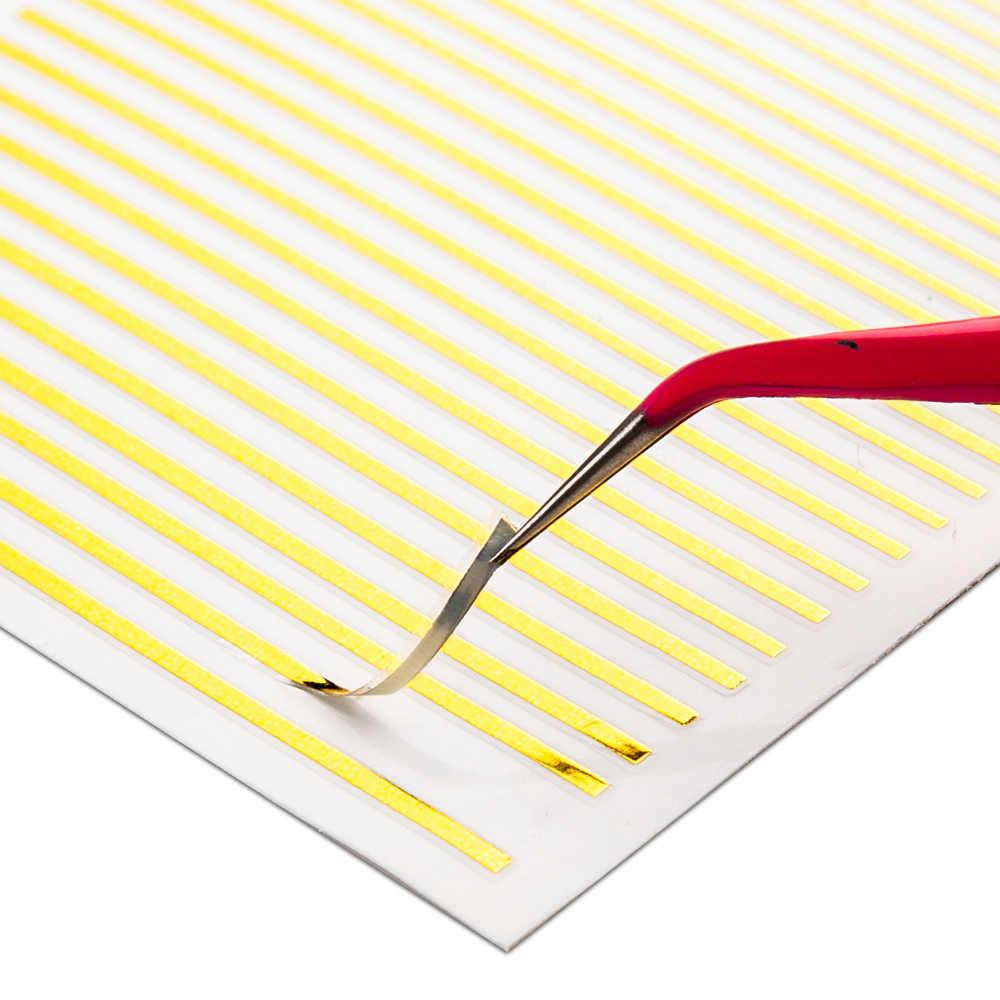 1 pezzo di Oro Argento 3D Autoadesivo Del Chiodo Curva Striscia Linee di Adesivi Per Unghie In Metallo StripTape Multi-size Unghie artistiche Decalcomanie Degli autoadesivi