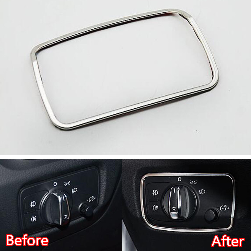 YAQUICKA Front Head Light Switch Panel Frame Trim Sticker Styling For Audi A3 8V 2012 2013 2014 2015 Stainless Steel