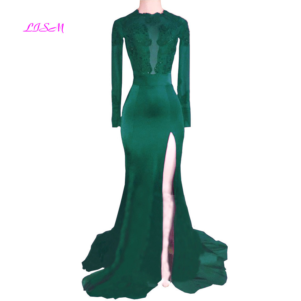 Sexy Open Back Mermaid Ladies Evening Dresses Sleeved High Split Train Party Gowns Long Appliques Prom Dress robe de soiree 2019
