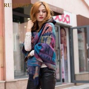 Image 3 - Thiết kế mới nữ mùa đông Bohemia Có Mũ Phối Mũi Đuôi Nơ Khăn Choàng Khăn Giả CashmereTribal Viền Áo Khoác Hoodie Quà Tặng CỔ