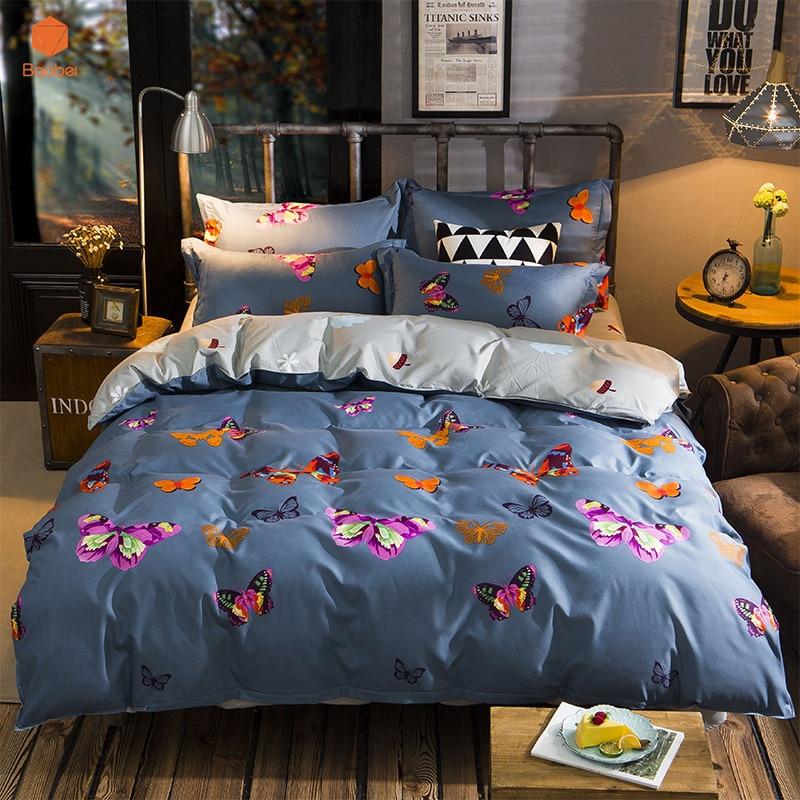 3Pcs Butterfly Pillowcase 48x74cm Printed Beding set Polyester Duvet Cover Set Twin Queen King Size Sj80