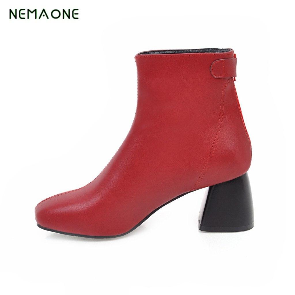 NEMAONE font b women b font font b boots b font platform flock woman shoes fashion