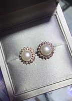 S925 sterling silver inlaid with natural freshwater pearls micro Ear Studs