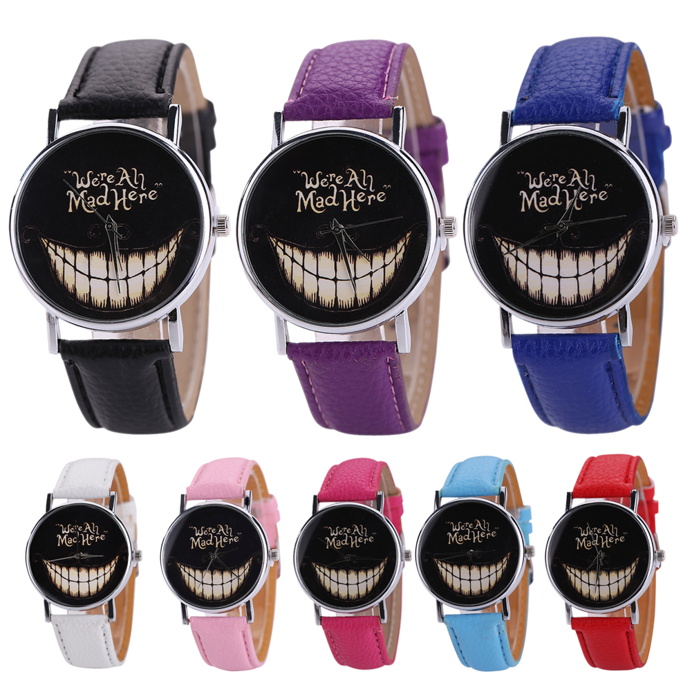 Holloween Ghost Face Big Teeth Geneva Casual Quartz Wrist Dress Leather Strap font b Watch b
