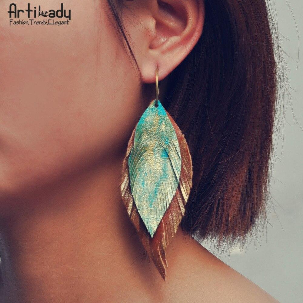 Artilady genuine leather earrings boho feather drop earring for women jewelry gift rhinestone feather fan shaped boho jewelry earrings