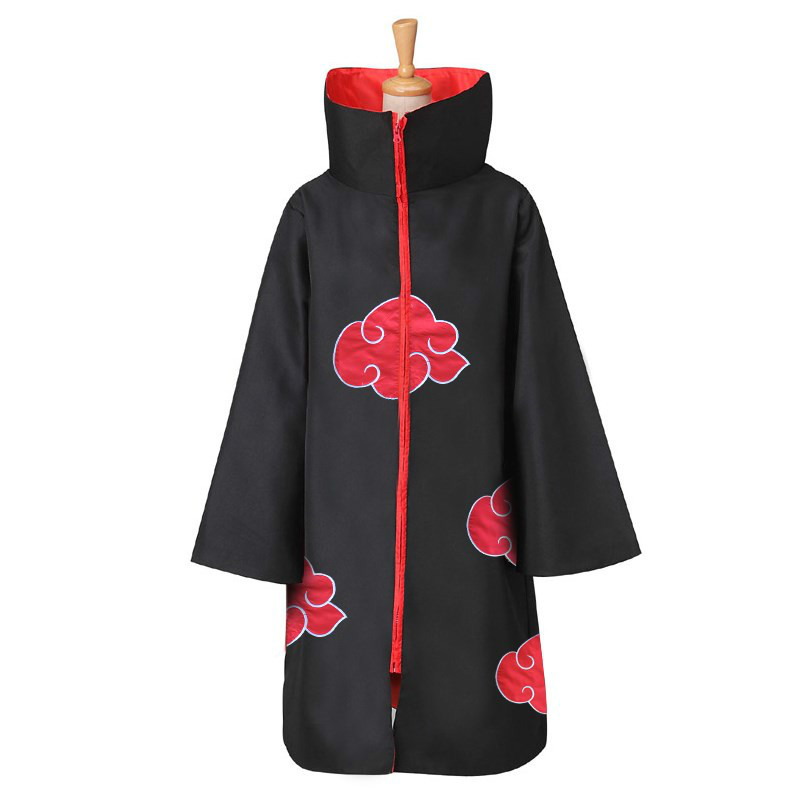 Hot Anime Naruto Cosplay Costume the Akatsuki Cloak Jumsuit Wind Coat Costume
