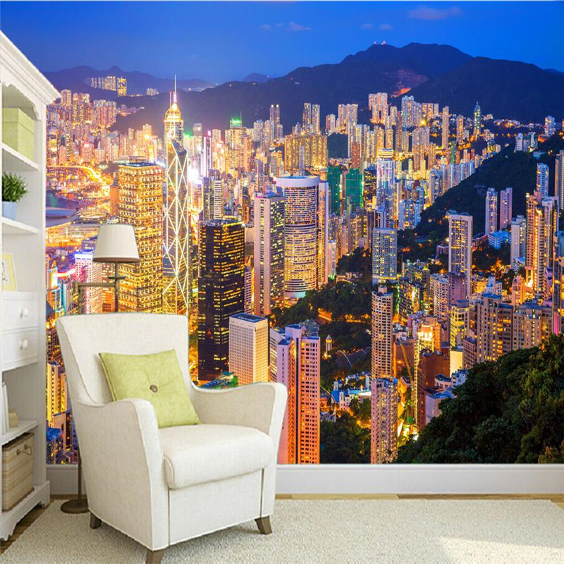 Wall Paper 3d Mural Decor Photo Backdrop Hong Kong Night Photography Large Mural Living Room