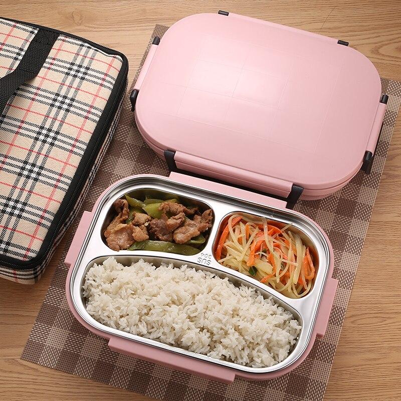 Boîte à Bento en acier inoxydable   Livraison gratuite, boîte à Bento pour étudiants adultes, conteneur Rectangle de haute qualité boîte à Lunch étanche envoyer la vaisselle