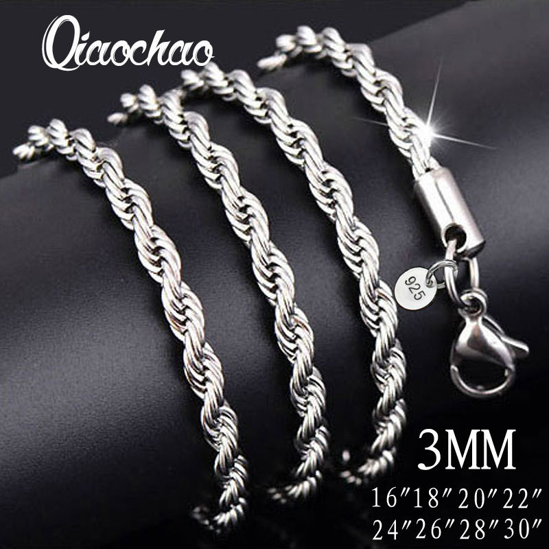 Wholesale price 16 30 inch 3mm twisted chains necklaces 925 sterling aeproduct aloadofball Choice Image