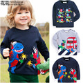 New 2016 Branded 100% Cotton Baby Boys t shirts Kids Clothing Clothes Children Long Sleeve t-shirts Boys Blouse dinosaur Boys