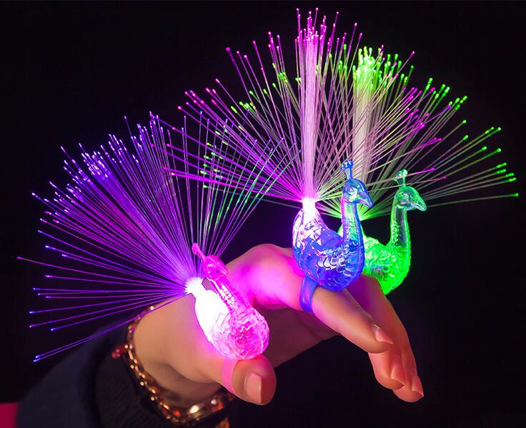 Peacock Design Birthday Party LED Glowing Finger Rings Favors Flashing Ring Light For Kids Toys/Events/Party Favors 500pcs/lot