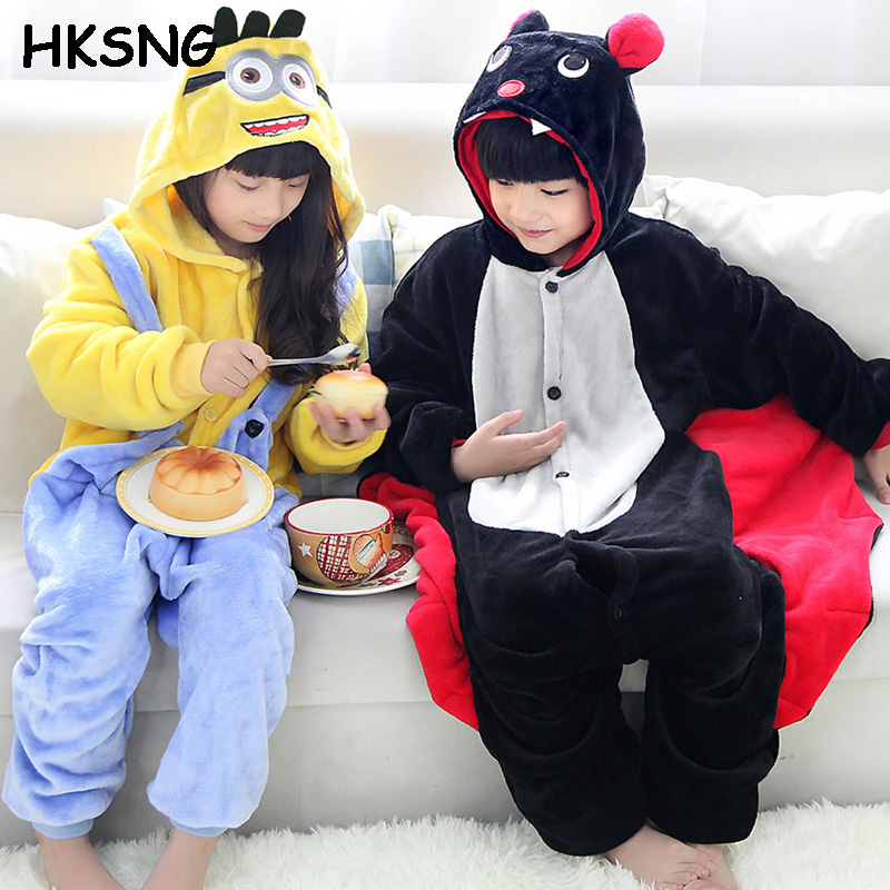 HKSNG Kids Black Bat Pajamas High Quality Flannel Winter Animal Kigurumi Cartoon Pyjamas Onesies Costume Homewear
