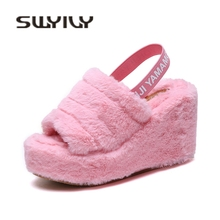 SWYIVY Fur Sandals Woman Platform 2019 Winter Spring Wedge Heel Female Hot Sale Sandals Shoes Warm Fur Casual Shoes Velvet Warm
