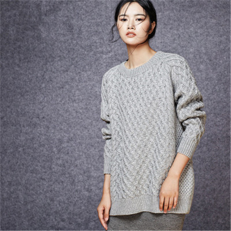 New Fashion 100% Hand Made Pure Wool Oneck Knit Women Solid Thick H-straight Loose Pullover Sweater One&over Size