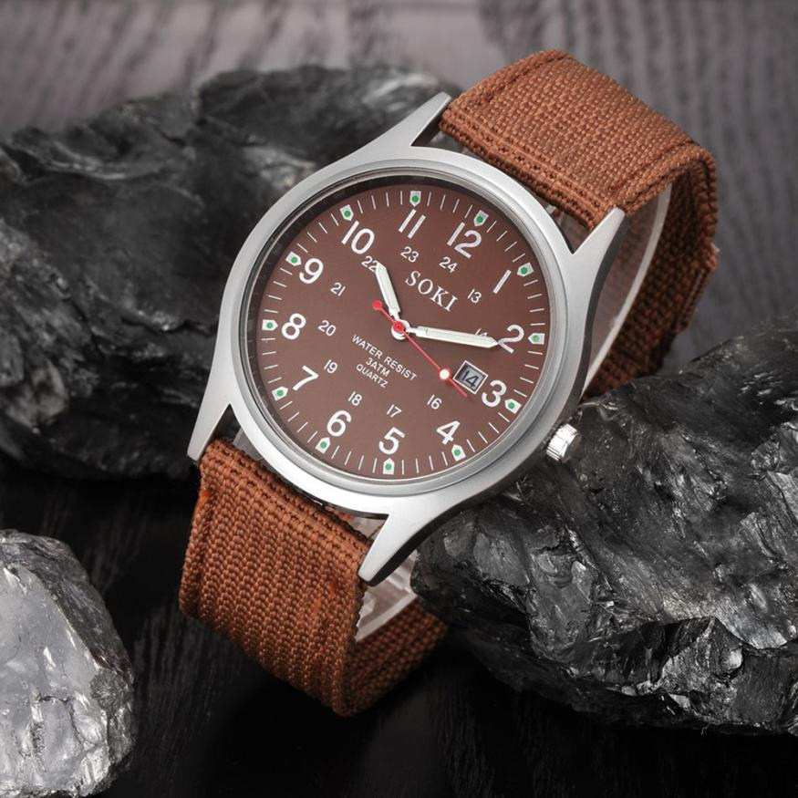 Military Army Style Mens Quartz Analog Watch Fashion Date Canvas Band Stainless Steel Sport Males Watch 2017 New Arrivals May25 cadisen top mens watch fashion sport military army chronograph date display waterproof men quartz watch stainless steel band