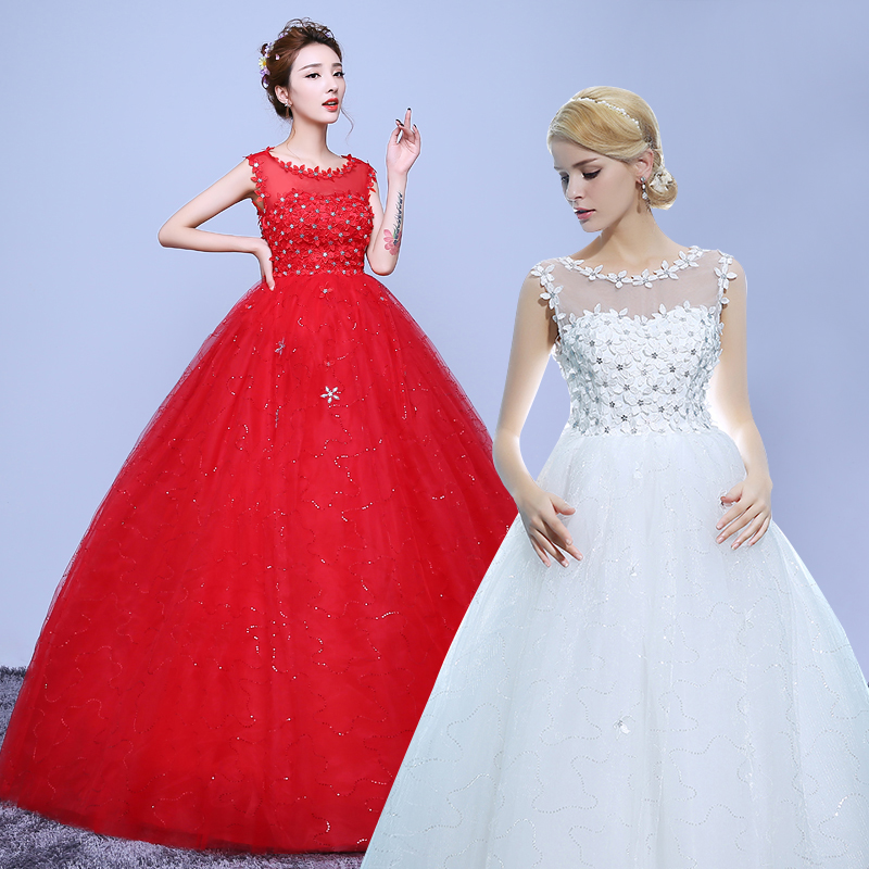 Red Ball Gown Wedding Dresses: 2017 New Stock Plus Size Women Bridal Gown Wedding Dress