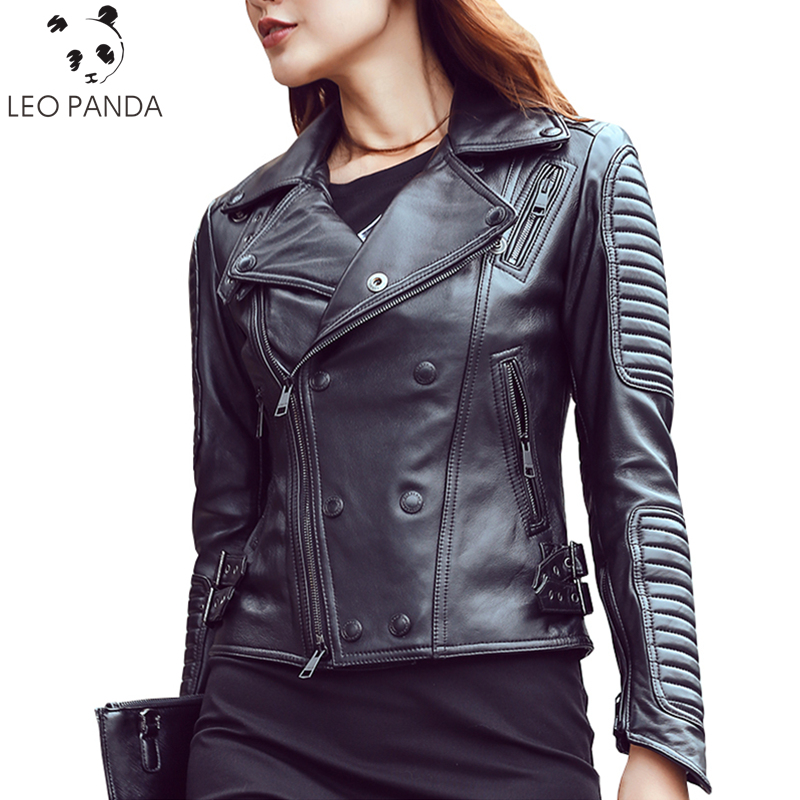 black Black Silver Peau Vestes En Femmes Button Moto Button Survêtement  Femelle Mince Mouton Cuir De Nouvelle Veste Printemps Automne 2018 Manteau  Mode ... 10a3265f1dd