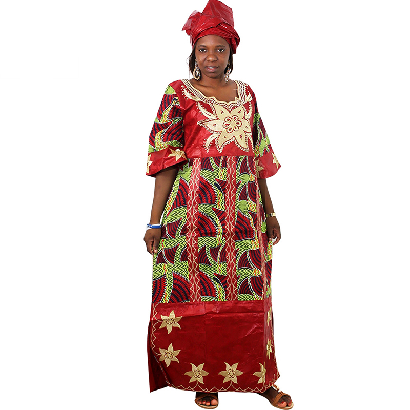 MD African Dresses For Women Ladies Dashiki Wax Dress With Headtie Bazin Riche Traditional Clothes Female 2019 Robe Africaine